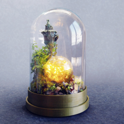 Free STL Base for glass Dome - Terrarium, Shira