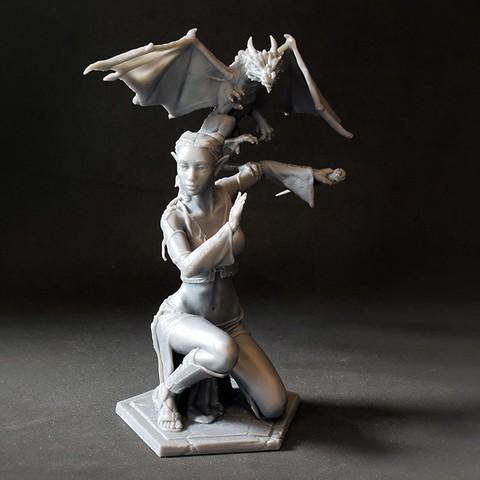 04 DSC_7471p.jpg Download STL file Woman and Dragon • 3D printable design, Shira