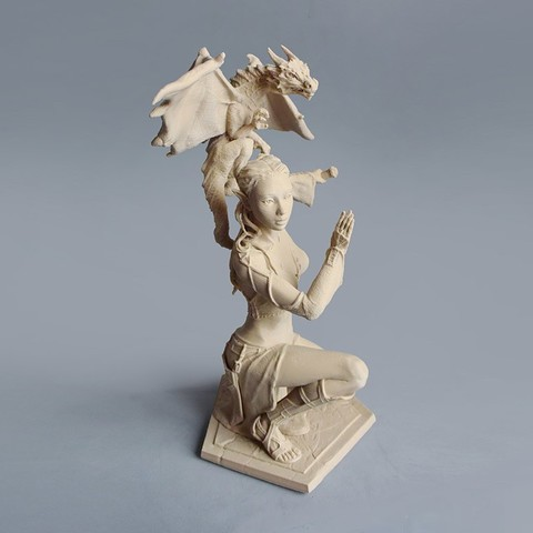 Download STL file Woman and Dragon • 3D printable design, Shira