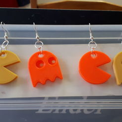 Download free STL file Pacman and Ghost earrings, JakG