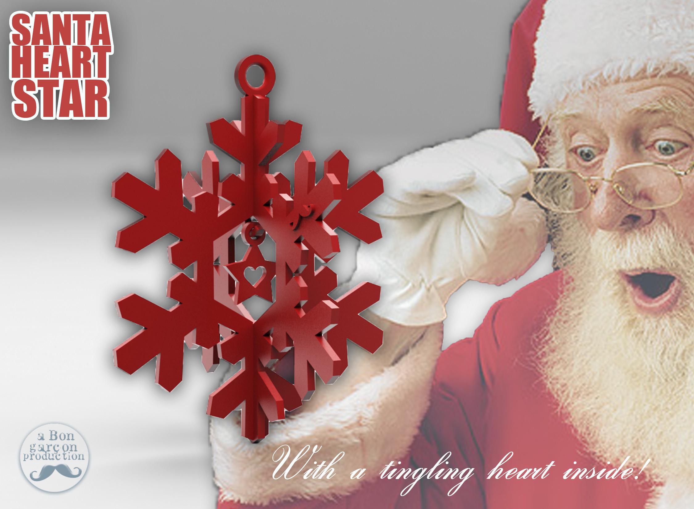 SantaStar-01.jpg Download free STL file SANTA STAR -with a Tingling Heart inside- • 3D printer object, BonGarcon