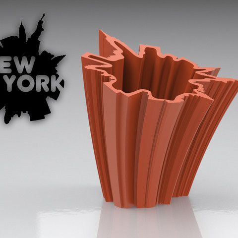 Free 3d printer designs SkyLine Vase: NEW YORK, BonGarcon