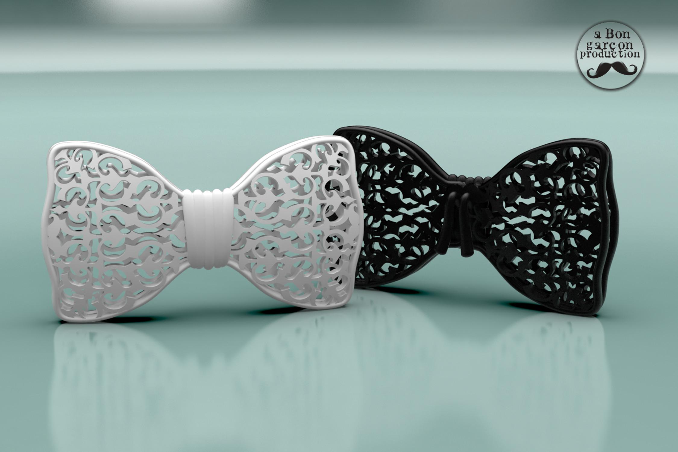 Bon_Garcon_BowTie_02.jpg Download free STL file Fancy Bow Tie VERSION ONE • 3D printing design, BonGarcon