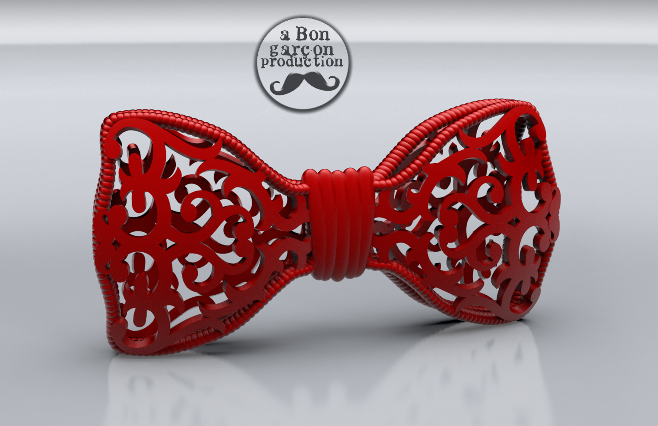 Bon_Garcon_BowTie-V2-01.jpg Download free STL file Fancy Bow Tie Version 2.0 • 3D printing object, BonGarcon