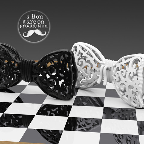 Bon_Garcon_BowTie-V2-02.jpg Download free STL file Fancy Bow Tie Version 2.0 • 3D printing object, BonGarcon