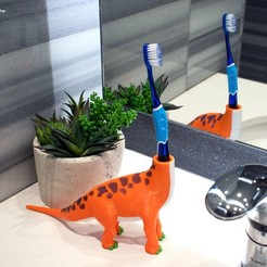 Free 3D printer files Multi-Color Dinosaur Toothbrush Holder, MosaicManufacturing