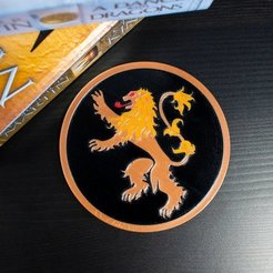 Download free STL Multi-Color Game of Thrones Coaster - House Lannister, MosaicManufacturing