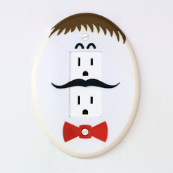 Free STL Multi-Color Mustached Egghead Plug Cover, MosaicManufacturing