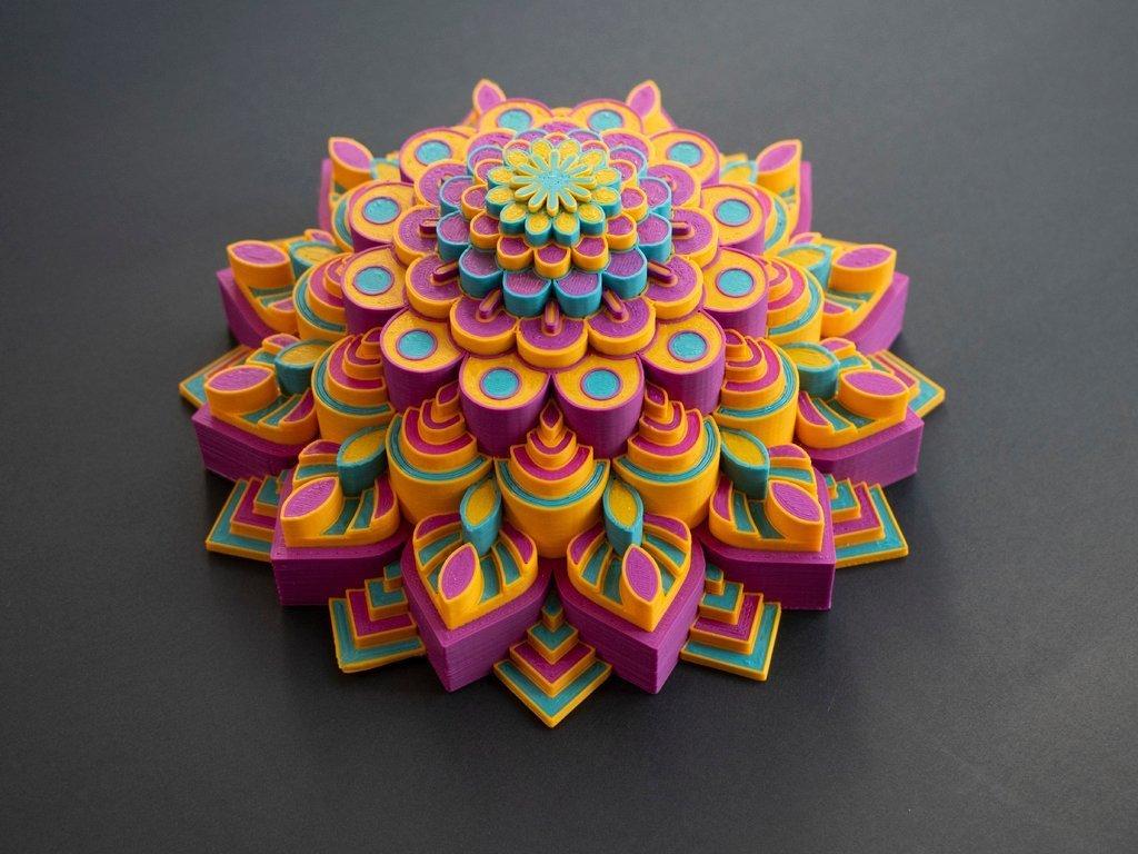 b8f0187fe5fce85c63f6bdab95b0546c_display_large.jpg Télécharger fichier STL gratuit Mandala multicolore • Objet pour imprimante 3D, MosaicManufacturing