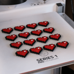 Free 3D printer designs Multi-Color 8-Bit Heart, MosaicManufacturing