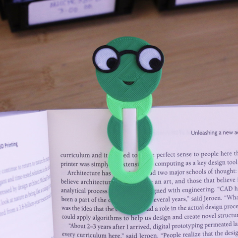 Download free 3D printing designs Muli-color Bookworm Bookmark, MosaicManufacturing