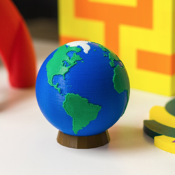 Download free 3D printing designs Multi-Color World with Stand, MosaicManufacturing