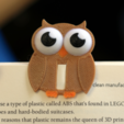 Free 3D printer designs Multi-Color Owl Bookmark, MosaicManufacturing