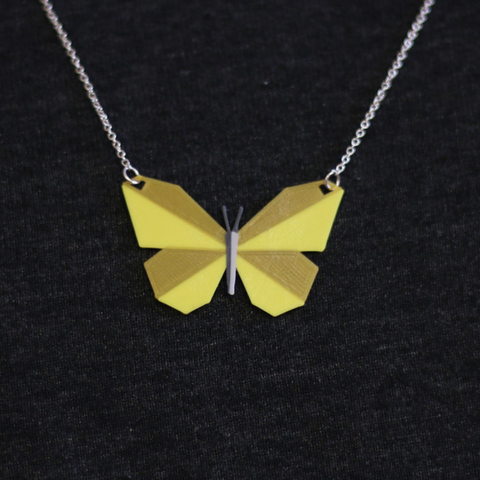 Download free 3D printing templates Multi-Color Butterfly Necklace, MosaicManufacturing