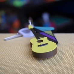 Free 3D printer designs Multi-Color Guitar Keychain, MosaicManufacturing