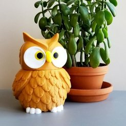 Free 3D print files Multi-Color Owl Jar, MosaicManufacturing