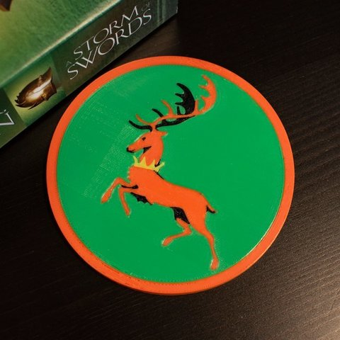 Free 3D printer designs Multi-Color Game of Thrones Coaster - House Baratheon, MosaicManufacturing