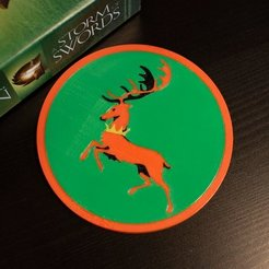 Download free STL Multi-Color Game of Thrones Coaster - House Baratheon, MosaicManufacturing