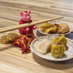 Download free 3D printer files Multi-Color Year of the Pig Chopstick Holder, MosaicManufacturing
