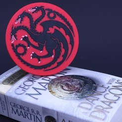 Download free 3D printing files Multi-Color Game of Thrones Coaster - House Targaryen, MosaicManufacturing