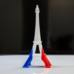 Free stl Eiffel Tower - Color (French Flag), MosaicManufacturing