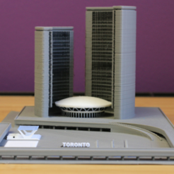 Free 3D print files Multi-Color Toronto City Hall, MosaicManufacturing