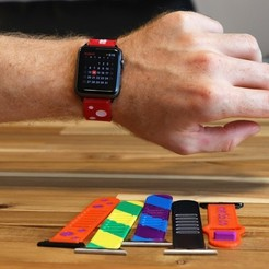 Download free STL file Multi-Material and Multi-Color Flexible Watch Band • 3D printer object, MosaicManufacturing