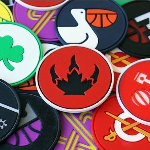 Free stl files Minimal Multi-color NBA coasters, MosaicManufacturing