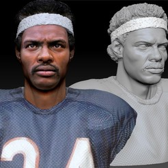 Download 3D printer designs Walter Payton NFL Star textured bust, JanM15