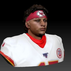 1.jpg Download STL file NFL Patrick Mahomes 3d print bust • 3D print template, JanM15