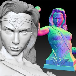 Download 3D print files Wonder Woman Gal Gadot 3d print bust, JanM15