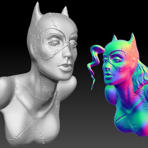 3D printing model Catwoman bust 2 versions, JanM15