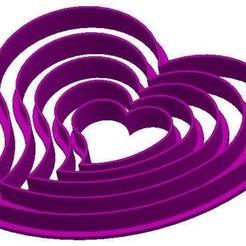 Descargar STL Juego de corazones cortadores de galletas Modelo de impresión en 3D, Rhum51