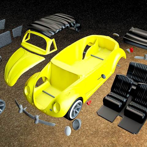 7.jpg Download STL file Beetle cabriolet • Template to 3D print, MaoCasella