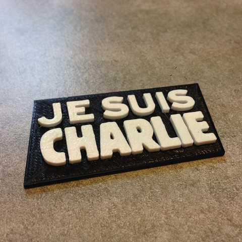 Free 3d print files Badge Je suis charlie , imajon