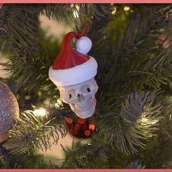 Download free 3D printing models Santa Skull Ornament, Adafruit