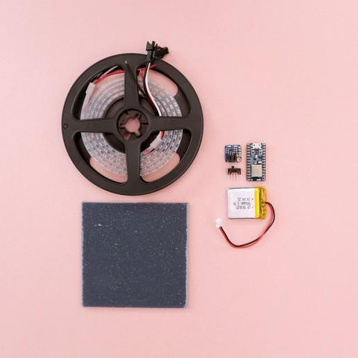 parts-wide.jpg Télécharger fichier STL gratuit Collier de coeur NeoPixel LED • Plan imprimable en 3D, Adafruit