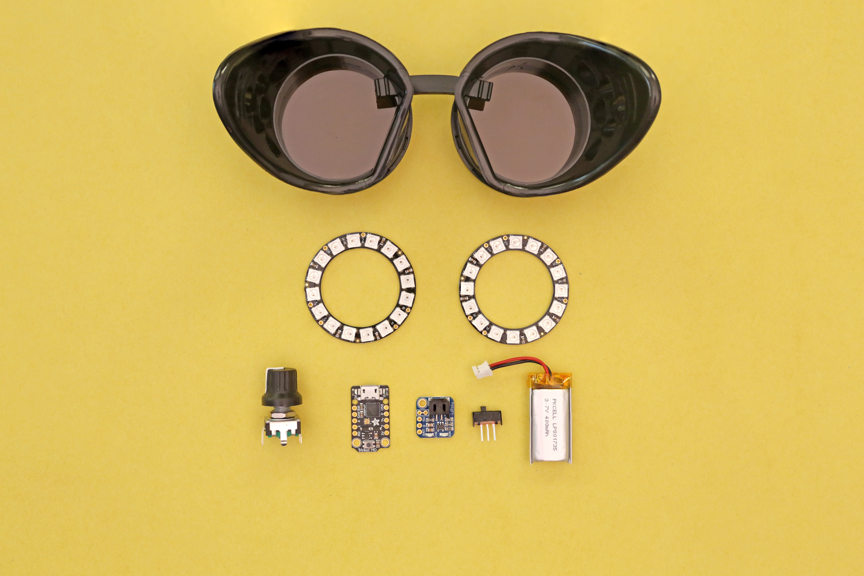 parts.jpg Download free 3MF file Watchmen NeoPixel Goggles • 3D printable model, Adafruit