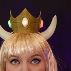 Download free STL file Bowsette LED Crown, Adafruit