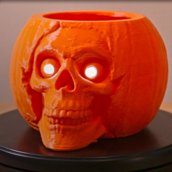 Free 3D printer files Pumpkin Skull Remix, Adafruit