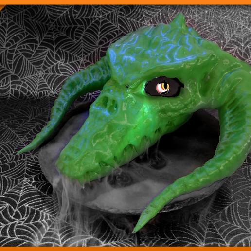 Download free 3D printer files Hallow Black Dragon Skull, Adafruit