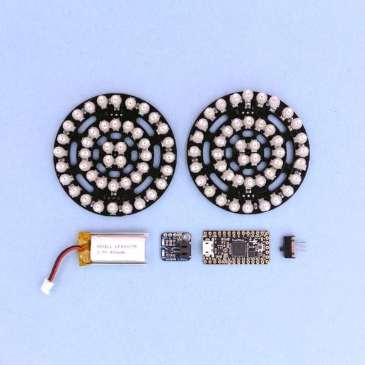 parts.jpg Download free STL file Rezz-Inspired NeoPixel Glasses • 3D printing template, Adafruit