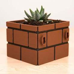 Download free 3D printer designs Mario Brick Planter, Adafruit