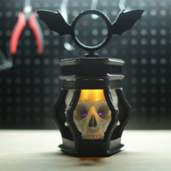 Free 3D printer files LED Skull Lantern, Adafruit