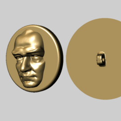 Download free STL file Ataturk Relief Button • 3D printer template, MiniFabrikam