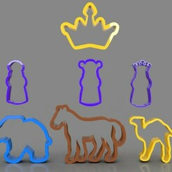 untitled.407.jpg Download STL file 3 Wise Men and Animals Cookie Cutters Pack • 3D printable object, PaburoVIII
