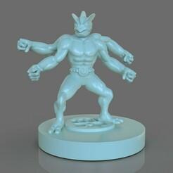 untitled.220.jpg Download STL file Pokemon Machamp Figurine • 3D printable template, PaburoVIII