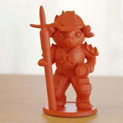 Download free STL files samurai cat with spear, bs3
