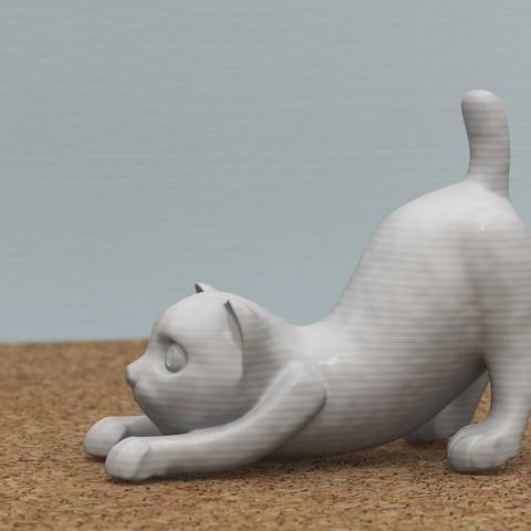 3D printing model Stretching cat, bs3