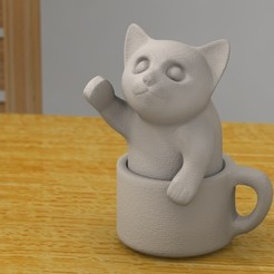 Free 3D printer designs kitten in a cup, bs3